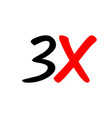 3x sign icon vector image vector image