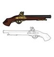 antique musket color cartoon gun vector image vector image