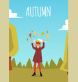 autumn card or banner with girl cartoon character vector image vector image