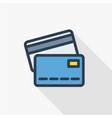 Bank card thin line flat color icon linear