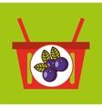 basket shopping plum juicy fruit vector image