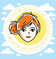 beautiful women face human head redhead character vector image