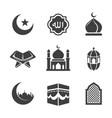 black islamic icons set vector image