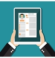 Business man hold tablet with resume vector image vector image