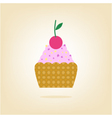 cake with cherry isolated on the background vector image vector image