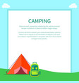 camping accessories rucksack and a-frame tent vector image vector image