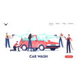 car wash service landing page template worker vector image vector image