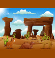 cartoon horse and camels enjoying on the desert vector image