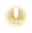 champagne glass on golden glitter abstract vector image vector image