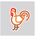 chicken icon in linear flat style vector image vector image