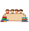 children on wooden board vector image vector image