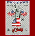 colored vintage independence day poster vector image vector image