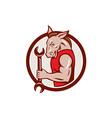 Donkey Mechanic Spanner Mascot Circle Retro vector image vector image