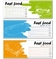 Fast food menu cards with burger hot dog and vector image vector image
