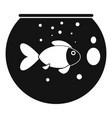 fish round aquarium icon simple style vector image