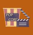 Flat icon in shading style popcorn cinema