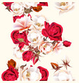 floral seamless pattern with white and red roses vector image vector image