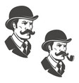 gentleman head with vintage hat with smoking pipe vector image vector image
