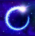 glowing comet frame on blue space background vector image vector image