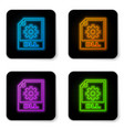 glowing neon dll file document icon download dll vector image vector image