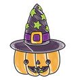grated happy pumpkin with witch hat style vector image vector image