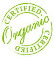 Green organic certified stamp vector image