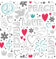 Hand-drawn seamless pattern with symbols of peace vector image vector image