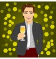 handsome man holding a glass of champagne vector image