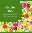 healthy food banner with fruits and vegetables vector image vector image