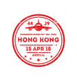 hong kong city visa stamp on passport vector image vector image