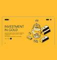 investment in gold isometric landing page banner vector image