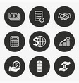investments money icon set vector image vector image