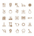 isolated gardening line style icon set vector image vector image
