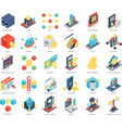 isometric icons of blockchain and security vector image vector image