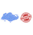mosaic map of singapore with connected dots and vector image
