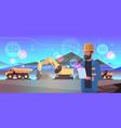 open pit man worker using tablet 5g online vector image vector image