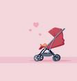 pink baby stroller vector image