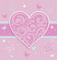 pink card with a heart vector image vector image