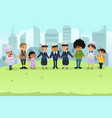 police holding hands with citizens vector image vector image