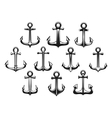 Retro marine stocked anchors icons vector image vector image
