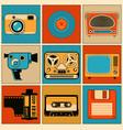 retro media objects design elements set vector image