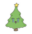 sad crying christmas tree cartoon character vector image vector image