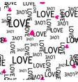 seamless pattern with hearts and love text vector image vector image