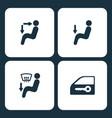 set car dashboard icons vector image vector image