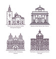 set isolated thin line churches and cathedral vector image vector image