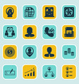 set of 16 human resources icons includes money vector image vector image