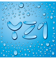 set of water drops letters on blue background vector image vector image