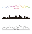 Wichita skyline linear style with rainbow vector image vector image