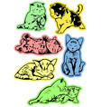 stickers with kittens vector image