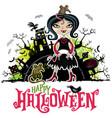 halloween card girl in vampire costume vector image